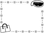 おしゃれなバッグと花と丸ドットの白黒フレーム飾り枠イラスト