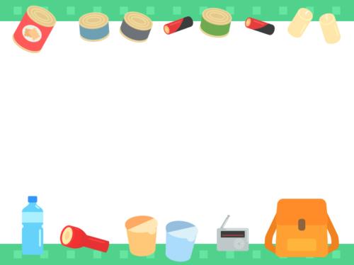 防災リュック/防災グッズの緑色上下フレーム飾り枠イラスト