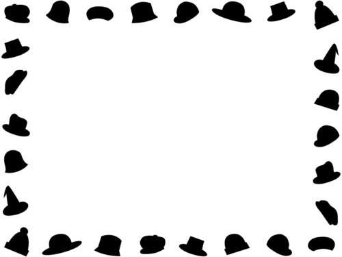 おしゃれな帽子の白黒囲みフレーム飾り枠イラスト