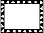 おしゃれな帽子の白黒囲みフレーム飾り枠イラスト02