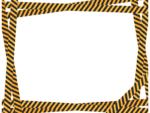 ランダムな黒と黄色線の注意・警戒の囲みフレーム飾り枠イラスト