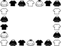 洋服・Tシャツとパーカーの白黒囲みフレーム飾り枠イラスト