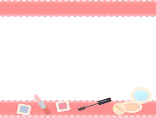 化粧品・メイクのピンク色上下フレーム飾り枠イラスト