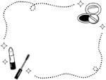 化粧品・メイクの白黒手書き風点線フレーム飾り枠イラスト