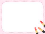 口紅のピンク色点線フレーム飾り枠イラスト