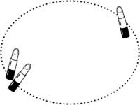 口紅の白黒楕円点線フレーム飾り枠イラスト