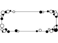 白黒の丸の囲み横長フレーム飾り枠イラスト