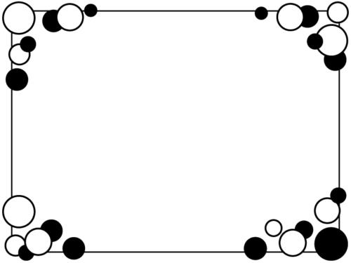 白黒の丸の四隅の囲みフレーム飾り枠イラスト