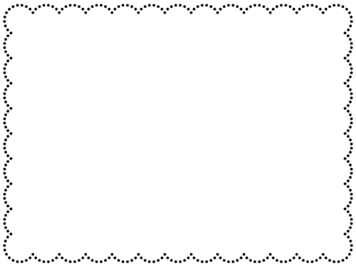 モコモコの点線の白黒フレーム飾り枠イラスト