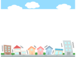 災害/地震で揺れている建物と空の上下フレーム飾り枠イラスト