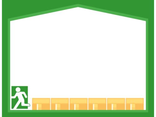 非常口と緑色の家の形のフレーム飾り枠イラスト