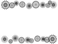 花火の模様の白黒上下フレーム飾り枠イラスト