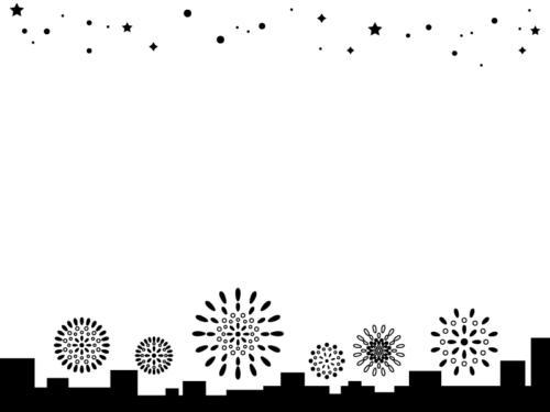 星空と建物のシルエットと花火の白黒フレーム飾り枠イラスト