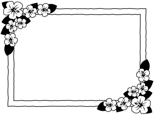 ハイビスカスの花の白黒四角フレーム飾り枠イラスト