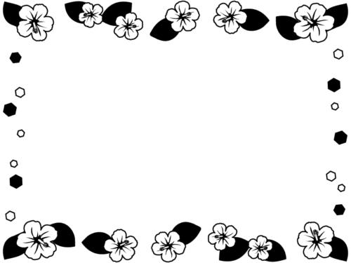 ハイビスカスの花の白黒囲みフレーム飾り枠イラスト
