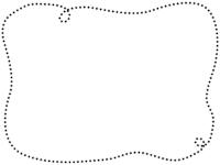 手書き風の点線の白黒フレーム飾り枠イラスト