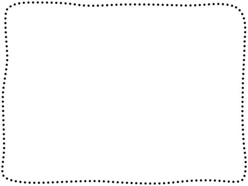 手書き風の点線の白黒四角フレーム飾り枠イラスト