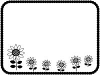 ひまわりの白黒もこもこ四角フレーム飾り枠イラスト