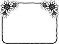 ひまわりの花の飾りの白黒フレーム飾り枠イラスト