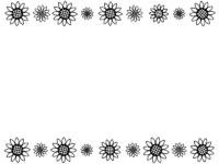 大小のひまわりの花の白黒上下フレーム飾り枠イラスト