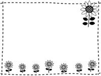 ひまわりの花の白黒点線ステッチフレーム飾り枠イラスト