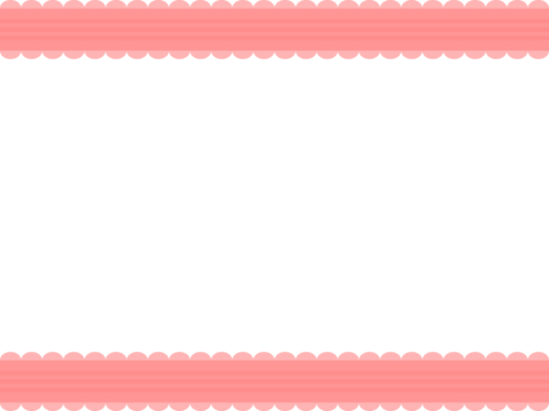 シンプルなレース模様(赤)の上下フレーム飾り枠イラスト
