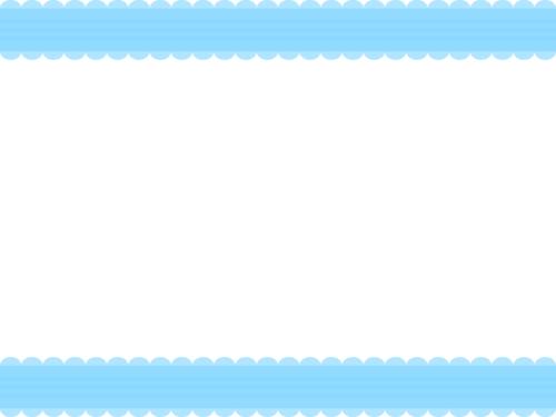 シンプルなレース模様(青)の上下フレーム飾り枠イラスト