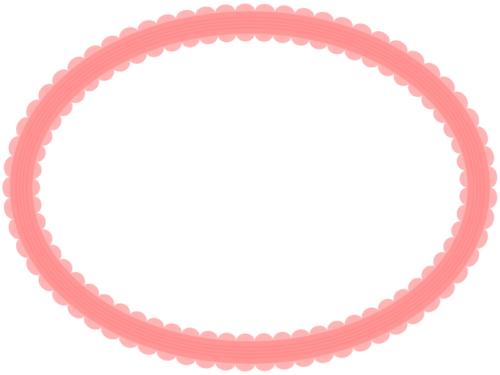 シンプルなレース模様(赤)の楕円フレーム飾り枠イラスト