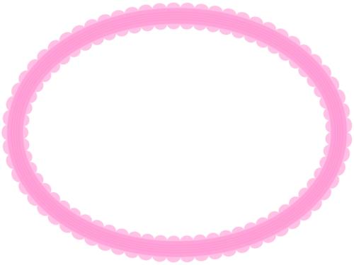 シンプルなレース模様(ピンク)の楕円フレーム飾り枠イラスト