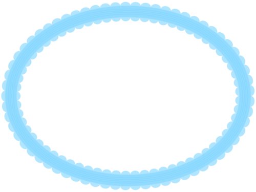 シンプルなレース模様(青)の楕円フレーム飾り枠イラスト
