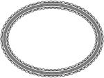 シンプルなレース模様(白黒)の楕円フレーム飾り枠イラスト