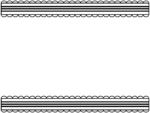 シンプルなレース模様(白黒)の上下フレーム飾り枠イラスト