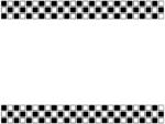 白黒タイル模様の上下フレーム飾り枠イラスト