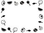お祭り・縁日の白黒囲みフレーム飾り枠イラスト