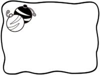 水風船の白黒手書き風フレーム飾り枠イラスト