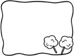 綿あめの白黒手書き風フレーム飾り枠イラスト