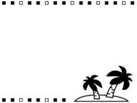 ヤシの木と白黒四角の上下フレーム飾り枠イラスト