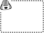 リュックサックの白黒点線ステッチのフレーム飾り枠イラスト
