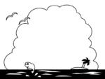 ヤシの木と海と入道雲の白黒フレーム飾り枠イラスト