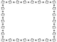 貝やヒトデの白黒囲みフレーム飾り枠イラスト