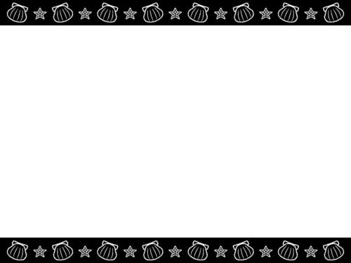 貝やヒトデの白黒上下フレーム飾り枠イラスト