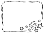 貝やヒトデの白黒手書き風フレーム飾り枠イラスト