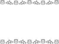 貝やヒトデの白黒上下フレーム飾り枠イラスト02