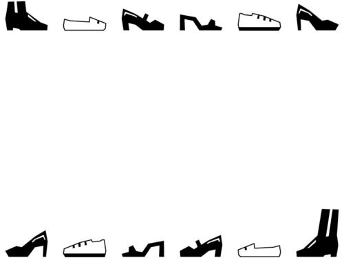 おしゃれな靴の白黒上下フレーム飾り枠イラスト