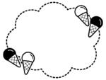 アイスクリームの白黒点線もこもこフレーム飾り枠イラスト