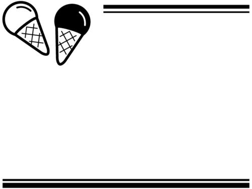 アイスクリームの白黒上下二重線のフレーム飾り枠イラスト