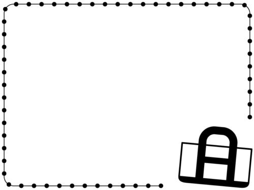 トートバッグの白黒ステッチのフレーム飾り枠イラスト