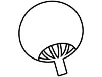 うちわの形の白黒フレーム飾り枠イラスト