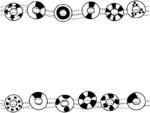 浮き輪の白黒上下フレーム飾り枠イラスト