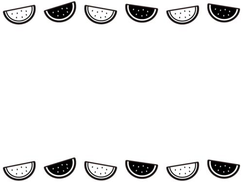 スイカの白黒上下フレーム飾り枠イラスト